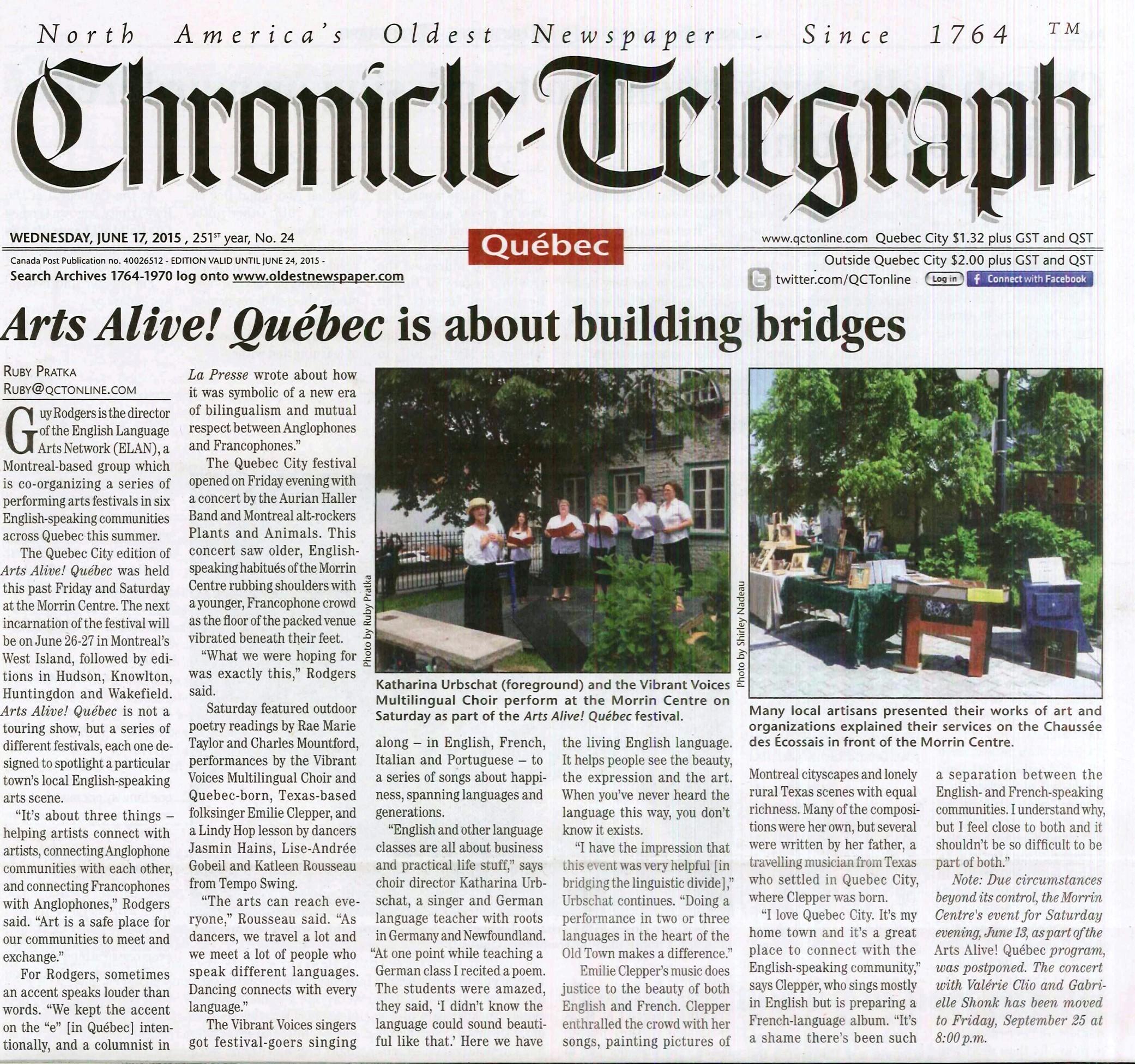 AAQ- Chronicle Telegraph (2015)