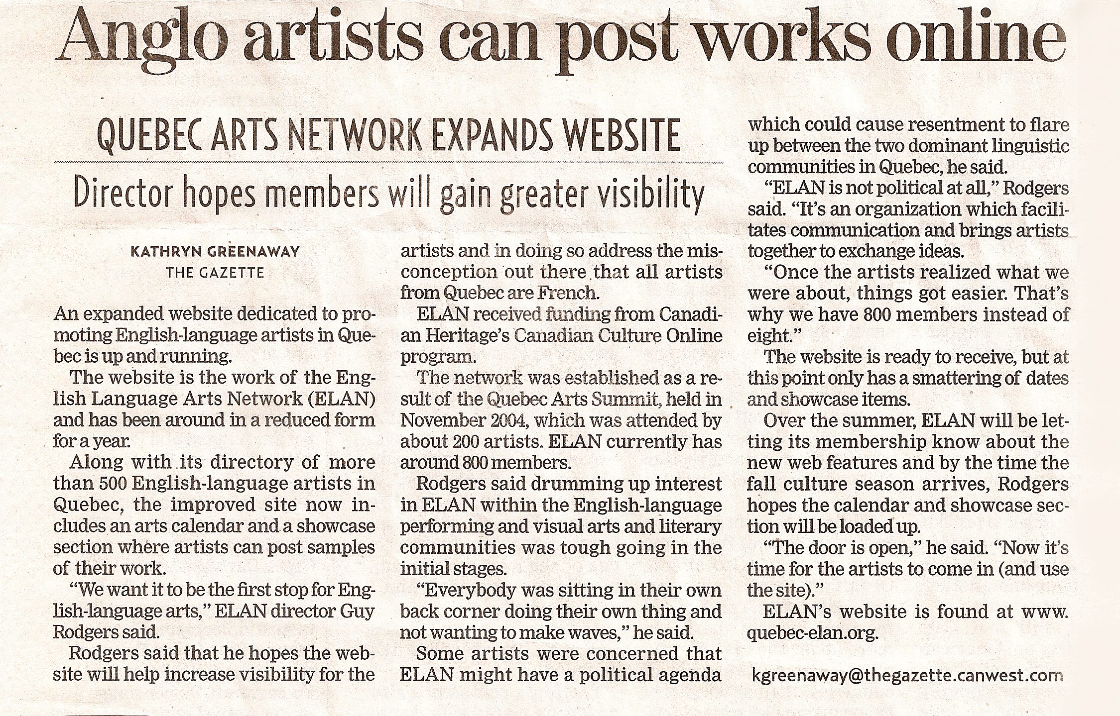 Anglo Artists Can Post Works Online- The Gazette (2006)