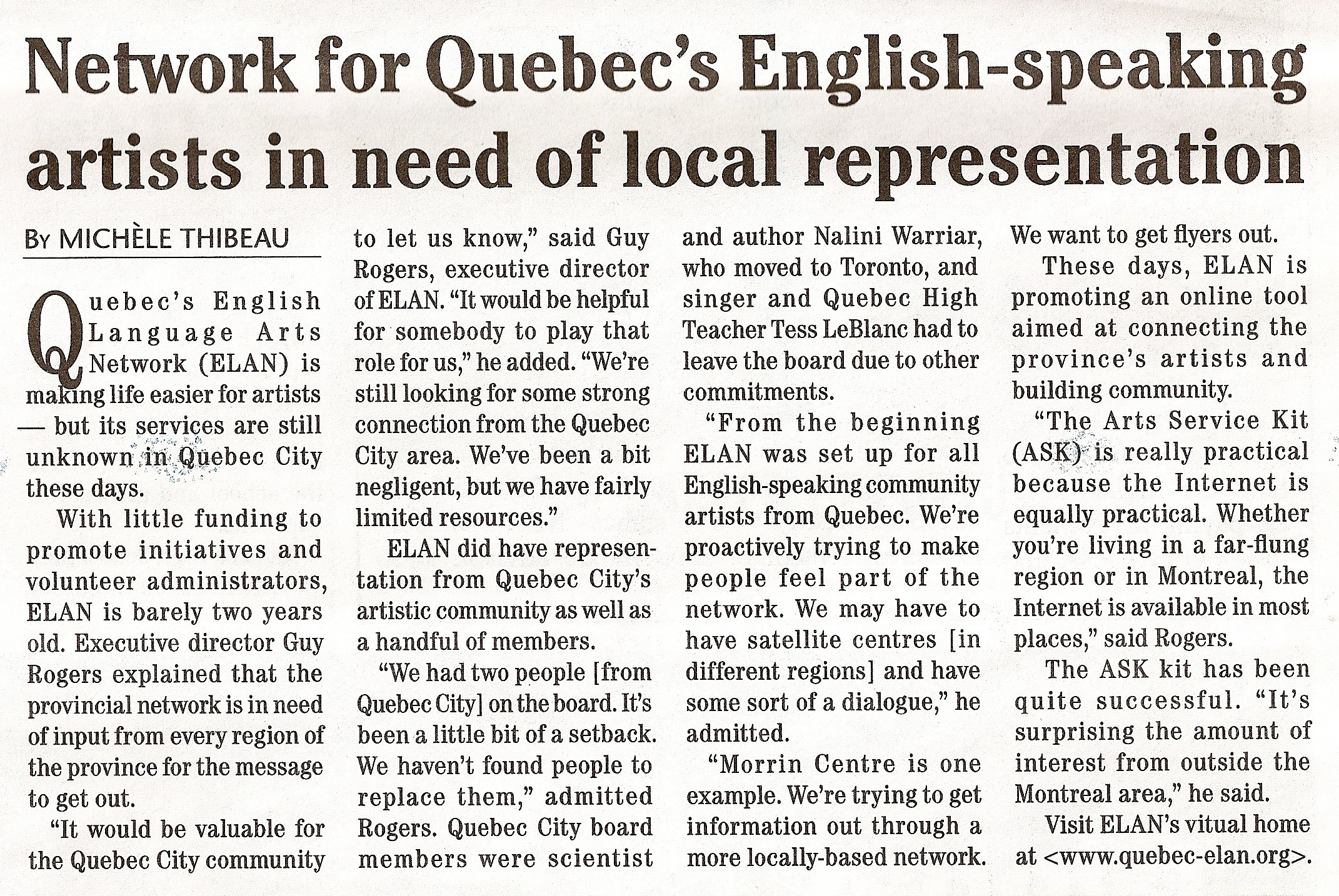 Network for Quebec's English Speaking Artists in Need of Local Representation- Quebec Chronicle (No date)